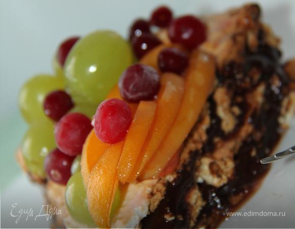Нежный безе-торт с пивным кремом и фруктами!