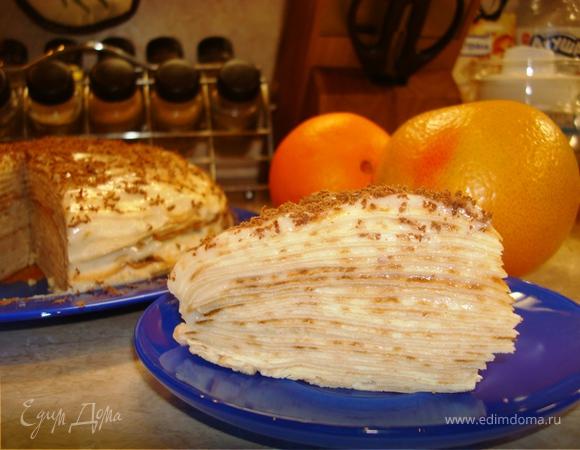 Блинный торт с лимонным кремом на Масленицу