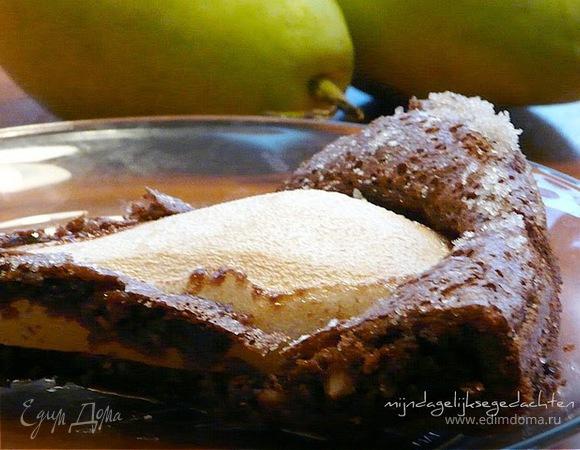 Шоколадно-ореховый пирог с грушей(без муки)