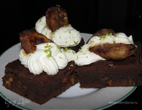 Brownie -Тройной шоколад с карамелизированным бананом