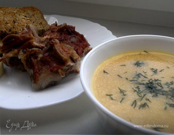 Гороховый суп-пюре с копченностями