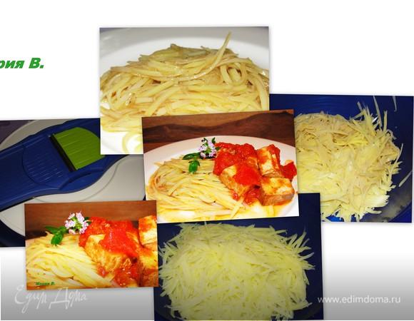 """Салат картофельный """"Азиатская нотка"""" с копченым тофу в томатном соусе"""