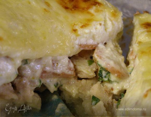"""""""3 Кита"""". Творожный пирог с копчённой курицей и морковью"""