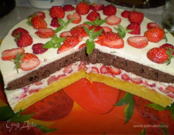 """Клубничный торт с творожным кремом """"Мохито"""""""
