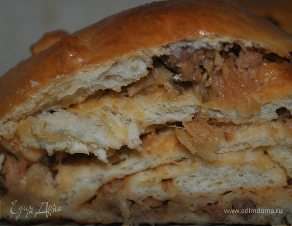 Пирог-коса с мясом и капустой