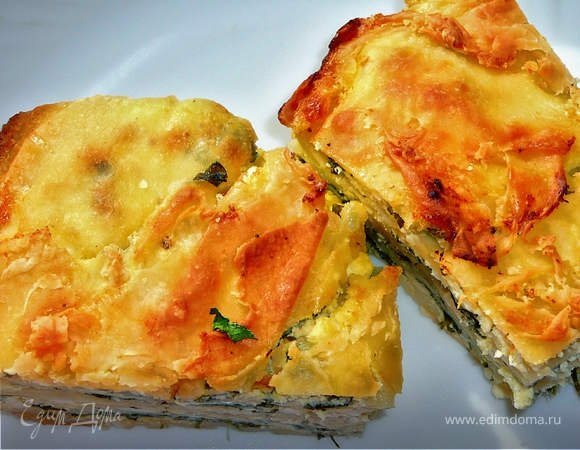 Закусочный пирог с брынзой и шпинатом