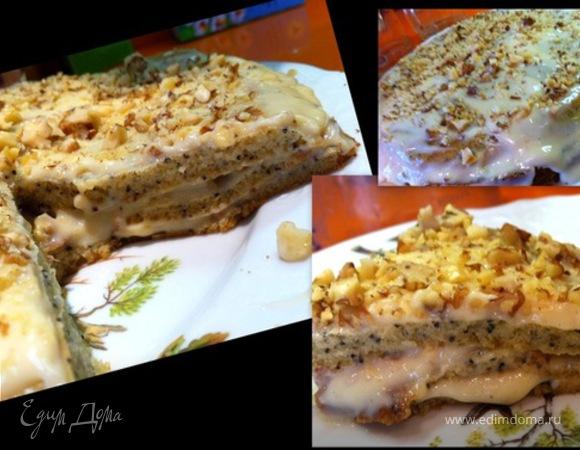 Маковый торт с молочным кремом