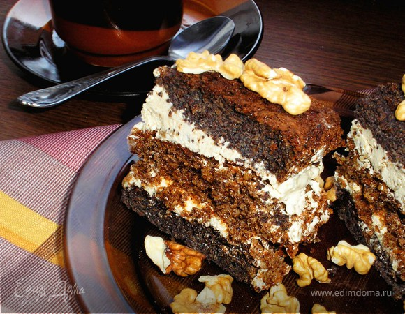 Пляцок орехово-маково-кофейный