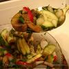Салат с жареными шампиньонами и редисом