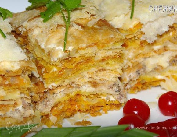 Торт «Рыбный» из домашнего слоеного теста