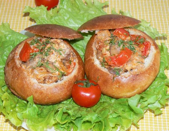 Ужин в хлебной булочке