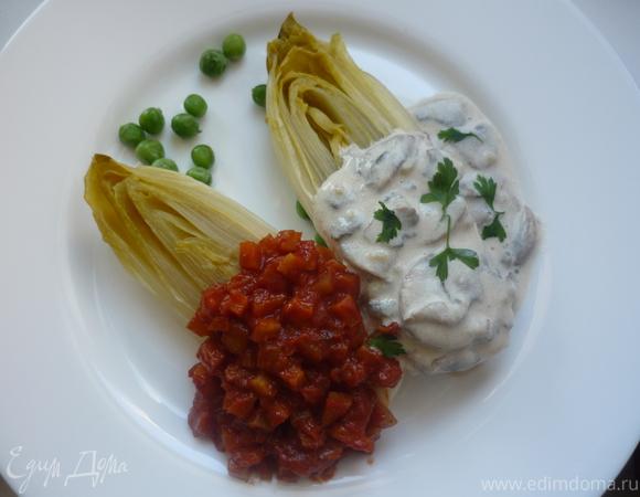 Цикорий с томатным и грибным соусами