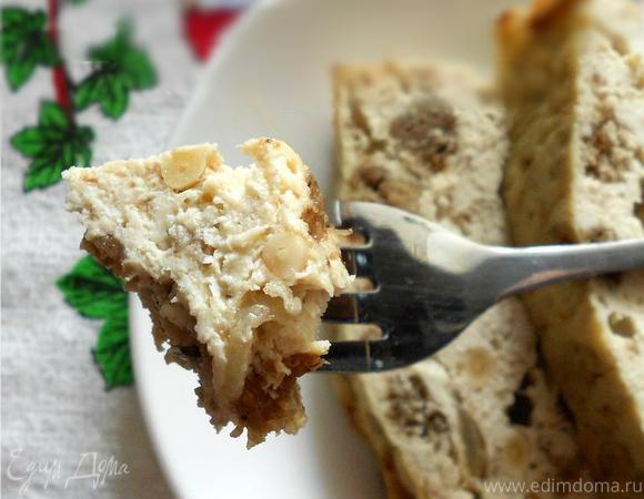Террин из курицы с жареным луком и бородинским хлебом