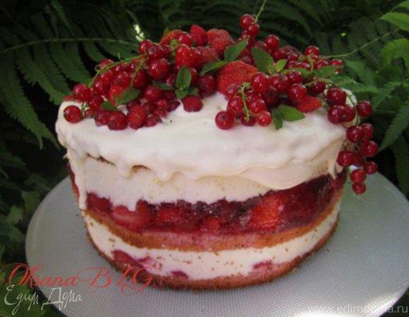 """Торт """"Клубничный, яркий, нежный"""""""
