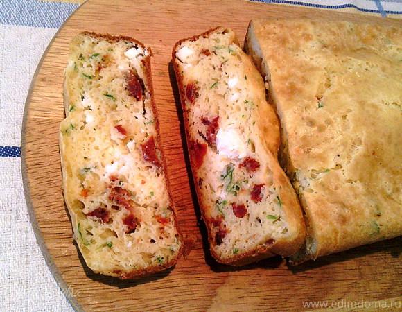 Пирог с вялеными помидорами, брынзой и зеленью