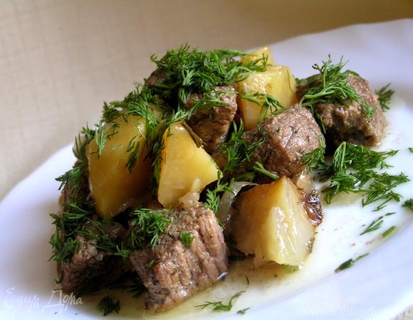 Мясо в укропе с картошкой (в горшочке)