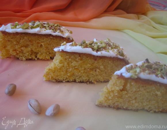 Абрикосовый пирог с миндалем без муки (с манкой)