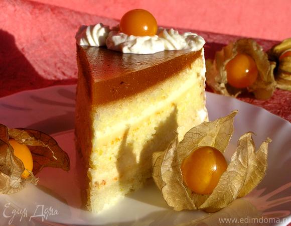 """Бисквитно-муссовый торт """"Апельсин и хурма"""""""