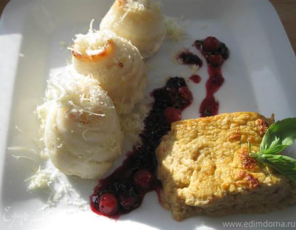 Камбала с фланом из кабачков и перца