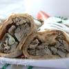 Ржаные блины, фаршированные печенью и грибами