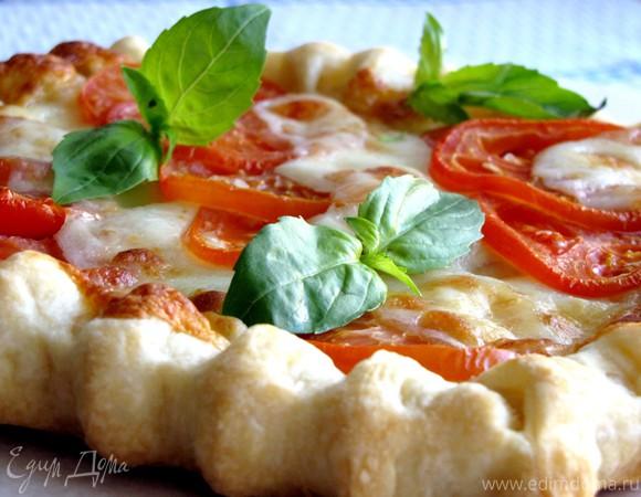 Пирог с помидорами, моцареллой и сладким перцем