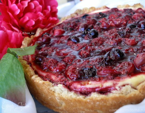 Творожный пирог с ягодным желе