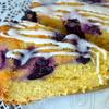 Виноградный пирог к чаю, покрытый ванильной глазурью