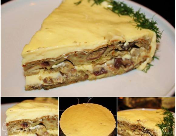 Бисквитный торт с белыми грибами