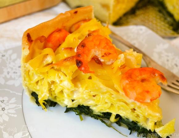 Итальянский торт из тальятелле с креветками