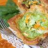 Тарталетки с тыквой и фетой в сливочно-шпинатной заливке