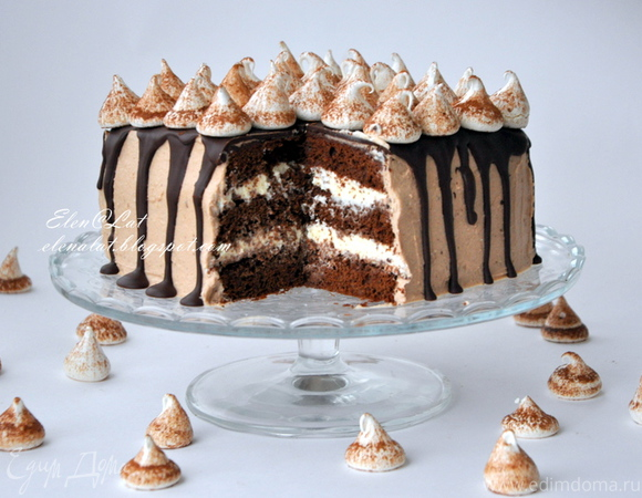 """Торт """"Шоколадно-кофейный с безе"""""""