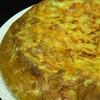 Открытый пирог с сырной шапочкой