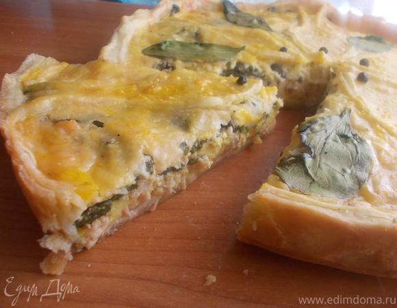 Киш с семгой, двумя видами сыра и прованскими травками