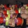 Шашлык из свинины с овощами в луковом маринаде