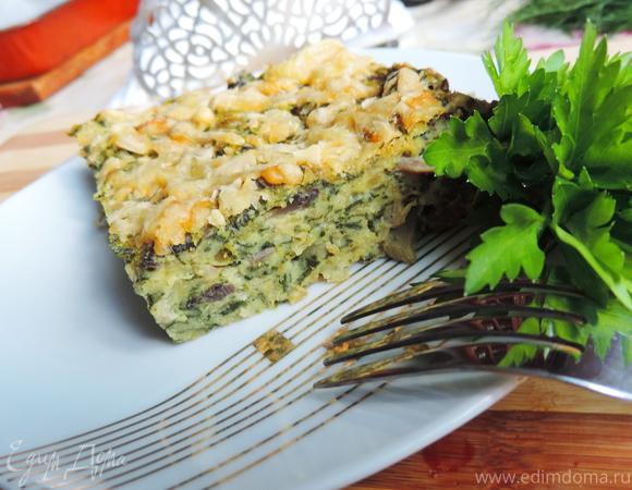 Быстрая запеканка со шпинатом, мясом и грибами