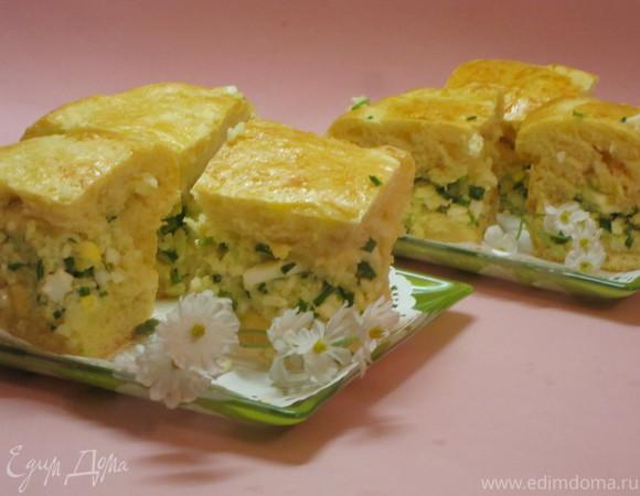 Пирог с яйцом, зеленым луком и рисом