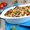 Конкильони, фаршированные баклажанами, помидорами, оливками и сыром