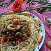 Соте из креветок со шпинатом к пасте