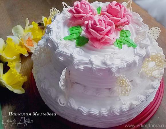 Двухъярусный торт с кремом
