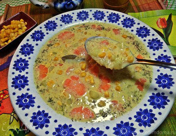 Сырный суп с гречневыми хлопьями