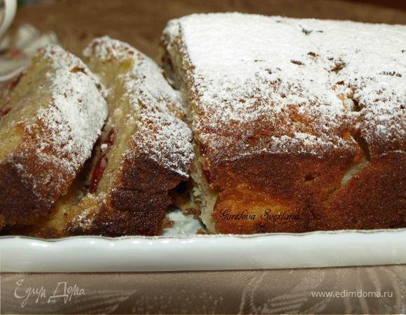 Яблочный кекс с вяленой вишней