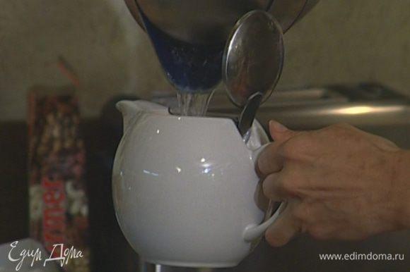 Сухой чай залить 200 мл кипятка и заварить крепкий чай.