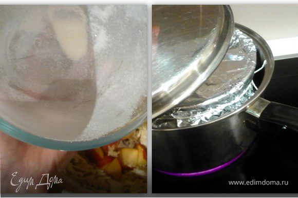 Форму объемом 1 литр смазать маслом и обсыпать мукой. Залить в форму тесто. Накрыть промаслянной фольгой. Перевязать. Готовить в пароварке или на водянной бане, на маленьком огне (электрическая плита - 4), 2ч.15 минут. Если готовите на водянной бане, то залейте в кастрюлю горячую воду, чтобы доходила до середины формы. Опустите в не нашу форму. Накройте кастрюлю крышкой. Готовый пудинг достать из пароварки/водянной бани и подержать под фольгой еще 10 минут. Затем перевернуть на тарелку, полить шоколодным соусом и украсить грушами.