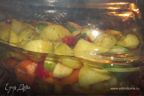Овощи выложить на мясо, залить оставшимся вином. накрыть крышкой и поставить в духовку на 1,5-2 часа.