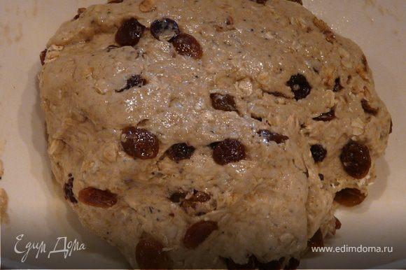 Замесить липкое тесто и в него вмешать изюм и мюсли. Ягоды в себя вберут влагу, поэтому тесто не должно быть совсем сухое. Смазать миску маслом и положить в нее тесто на 1-1,5 часа до увеличения в обьеме.