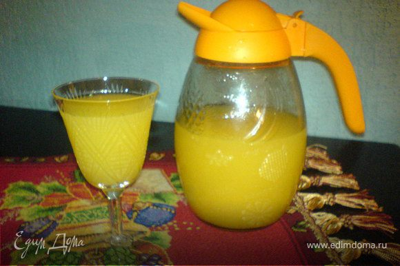 Апельсины режем на кубики,заливаем 3 литрами воды и 25 гр.лимонной кислоты.Варим пока шкурка не будет мягкой.Когда сварились апельсины с помощью блендера делаем пюре.После доливаем ещё 7 литров воды,сахар и доводим до кипения.Когда немножко остынет процедить,остудить и пить.P.S. Перед употреблением взболтать !!!