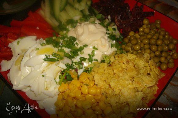 Нарезаем все ингредиенты тонкими не очень длинными полосками. Лук нарезаем мелко, чипсы крошим.Выкладываем по кругу тарелки. В серединку наливаем йогурт, или майонез. Присыпаем зеленым луком. Подаем на стол.