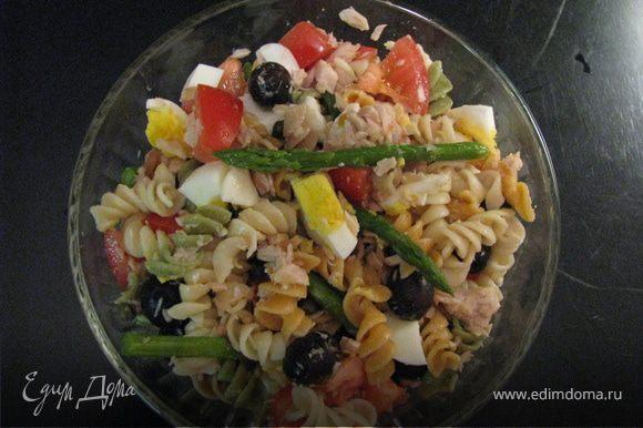 Из тунца слить воду, размять вилкою. Нарезать крупными дольками помидоры. Добавить все к макаронам. Также добавить оливки и каперсы. Заправить маслом.