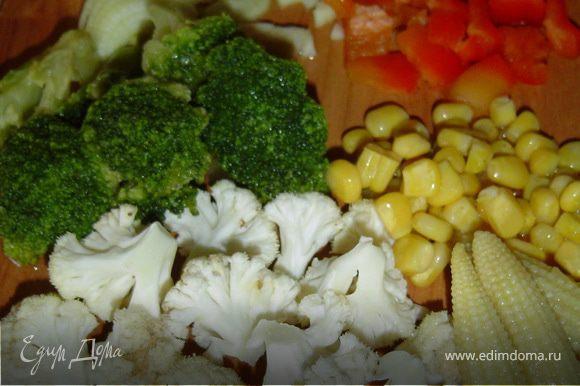 Брокколи и цветную капусту разделяем на маленькие соцветия, перец очищаем от семян и нарезаем небольшими кубиками, отвариваем кукурузу (или берем консервированную), очищаем и измельчаем лук.