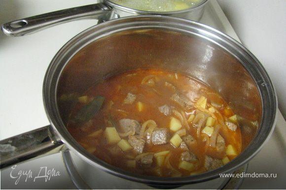 В той же сковороде слегка обжарить лук и картофель, снова виложить мясо, приправить пастой, паприкой и тмином. Влить бульон, довести до кипения накрыть крышкой и тушить на маленьком огне около часа периодически помешивая.